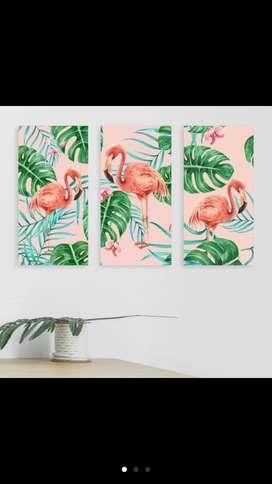 hiasan dinding flamingo