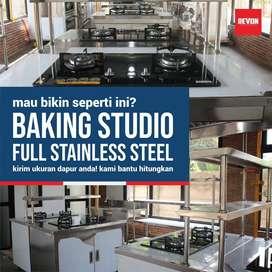 pembuatan pemasangan kitchen set stainless atas bawah murah Demak