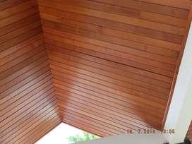 Lambrisering lambrisiring plafon kayu solid Jati Merbau Bengkirai Ulin