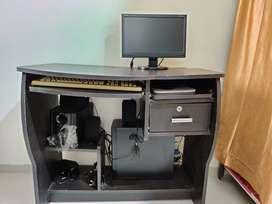 Monitor + CPU + Keyboard + Speaker + Computer Table
