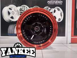 Cicil Velg Mobil DP 10% HSR Wheel SC-02 Ring 15 H4X100-114,3 Bk RED