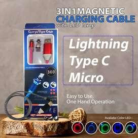 KABEL DATA METAL MAGNETIC 360 3 IN 1