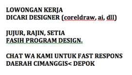 Dicari designer fasih corel draw, ai, atau program design lainnya