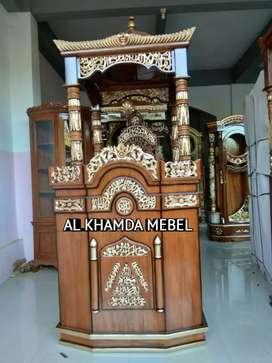 Mimbar Masjid Minimalis Ukiran Kaligrafi Ready