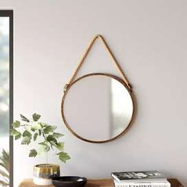 Home and Garden Rope Round Hanging Mirror