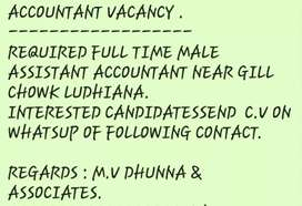 Accountant(with experience of final auditing ,gst return )