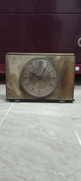 Antique England brass Marble vintage Table clock