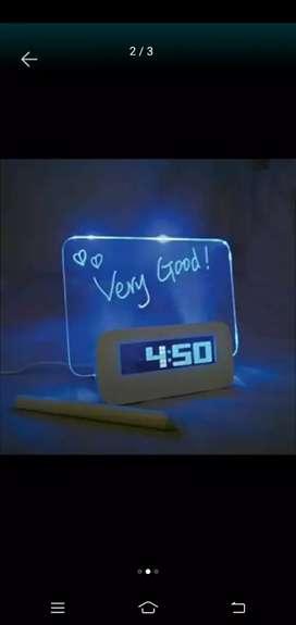 HOUSEEN Jam LCD Display Alarm Clock with Memo Board - White