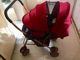 Baby pram two way reversable push handle pram