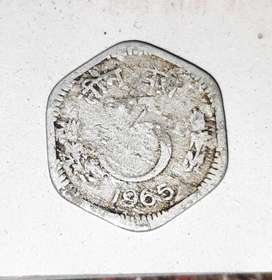 3 paise Indian old coin.
