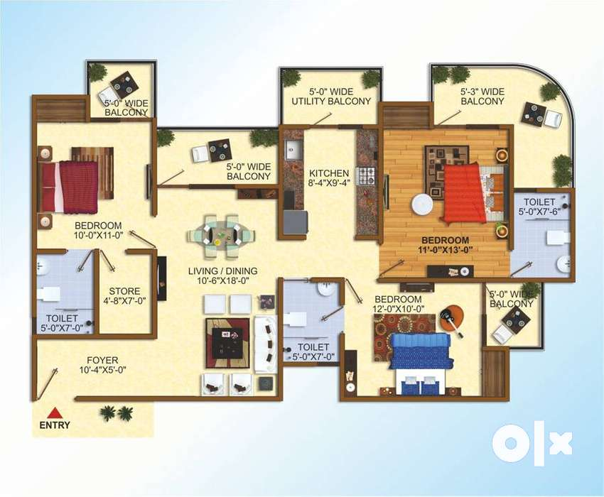 3 bhk Comfertable Flats In Raj Nagar Extension 0