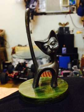 Antique Cat Made Of Brass.