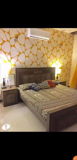 Simple Elegent bedset with sidetables and dressing table