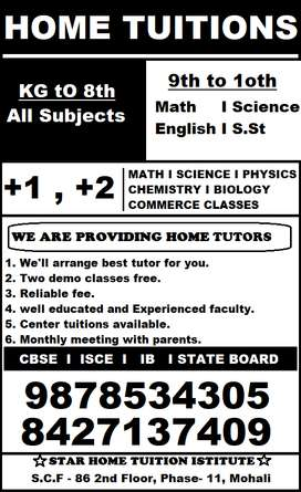 Urgently Required Home Tutors for 4th and 7th al subin Sec 6 panchkula
