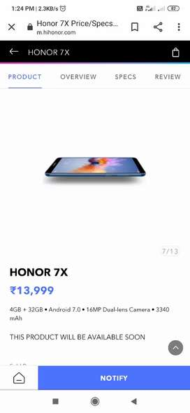 Honor 7x at 7000rs in very good condition
