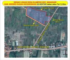 tanah 20 ha di brebes zona industri