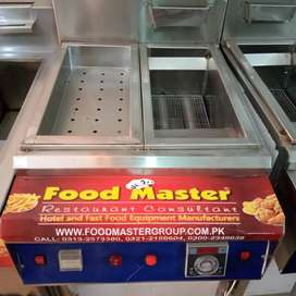 single fryar and hot plate by food master