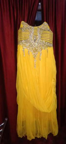 Long dress yellow colour new piece