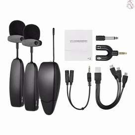 Microphone mic clip on vlog wireless UHF 2 transmitter 1 Receiver