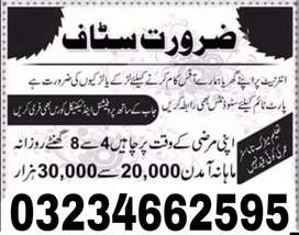 Jobs Available in Lahore part time full time and home base