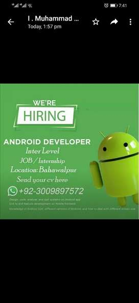 Need inter Level Android Developer OR internship seats also Available.