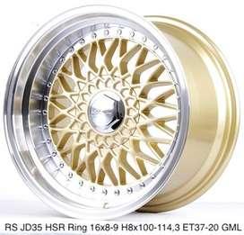 Velg murah RS JD35 HSR R16X8/9 H8X100-114,3 ET37/20 GOLD/ML