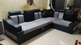 Grey colour L shape Sofa-cum-bed