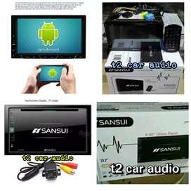 Canggih dvd 2din SANSUI JAPAN android link 7inc+camera hd mumer gan