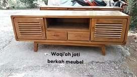Meja tv Retro modern & mewah, P. 150cm, bahan kayu jati tua terbaik