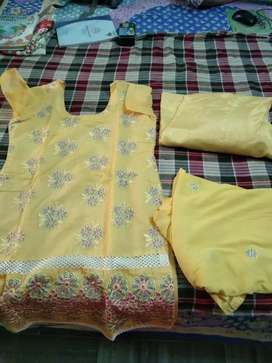 Yellow party wear suit