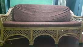 Cane wood sofa with cushion