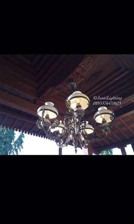 Lampu gantung antik jawa repro cabang 5 hias rumah jawa lawasan klasik