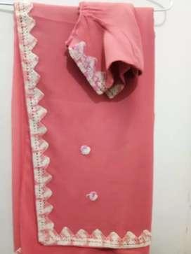 Handmade kroshiya lace and flowers gajari coloured Saree