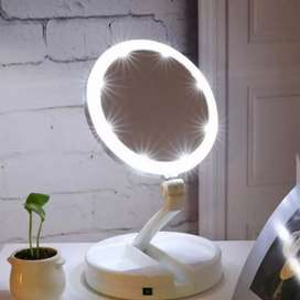 Cermin Pembesar Rias Dua sisi Kosmetik Mirror LED Lipat