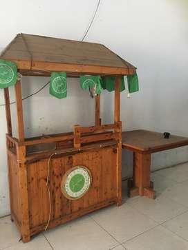 Rombong bekas minuman & meja set kursi