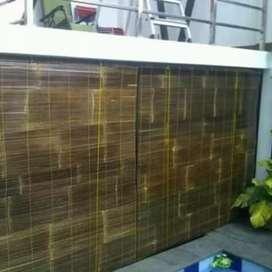 Jual tirai bambu hitam harga permeter persegi pesen anter