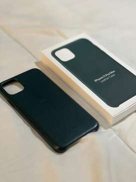 Leather case iphone 11 pro max forest green