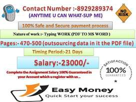 Genuine jobs for passionate candidates Work (Typing work at home)