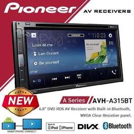 "Pioneer AVH-A315BT Double Din DVD 6.8"" Smartphone Mirroring Multimedia"
