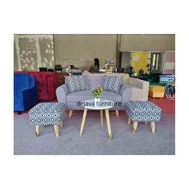 Murah .paket sofa tamu 2 seat retro dan stool