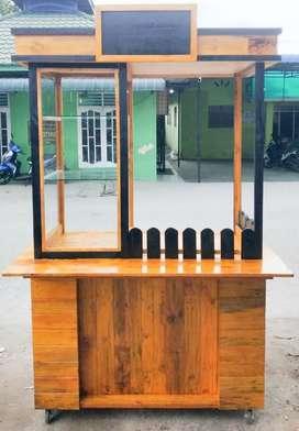 Steling Stand Gerobak Booth Jualan Kayu Jati Belanda Modern Kekinian