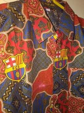 Kemeja Batik desain klub bola Barcelona Barca