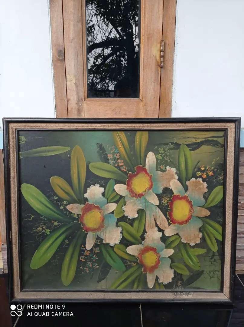 Lukisan Vintage Bunga Tahun 1980