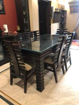 Dining Table Set 6 Seat Chair Solid Wood