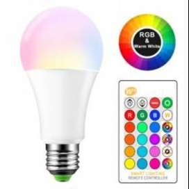 LAMPU BOHLAM RGB DENGAN REMOTE CONTROL 5 WATT BONDA PUTIH