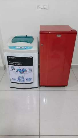 Green and white Washing machine 6kg with fridge combo offer