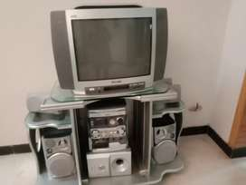 Original Philips sound system National GL Tv 25 inch and trolly