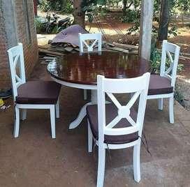 Meja makan jati dan kursi 6