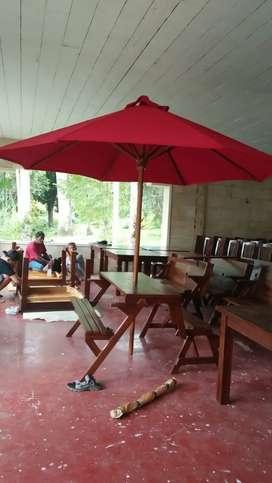 Meja Magic dan payung taman