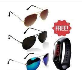 Sunglasses combo of 3 + watch free